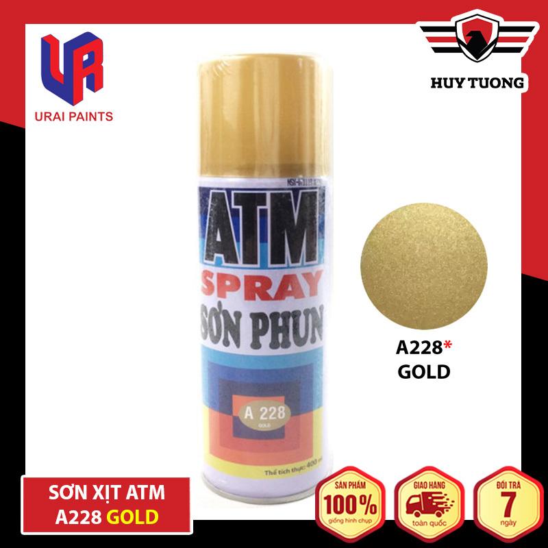 Sơn xịt ATM cho xe máy Spray A228 Gold ( Vàng nhũ ) - Huy Tưởng