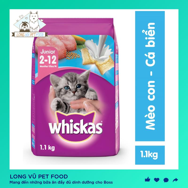 Thức ăn mèo con Whiskas vị cá biển & sữa 1.1kg, được sản xuất từ các nguyên liệu tự nhiên, bổ sung dưỡng chất, tốt cho hệ tiêu hóa, hàng có nguồn gốc rõ ràng