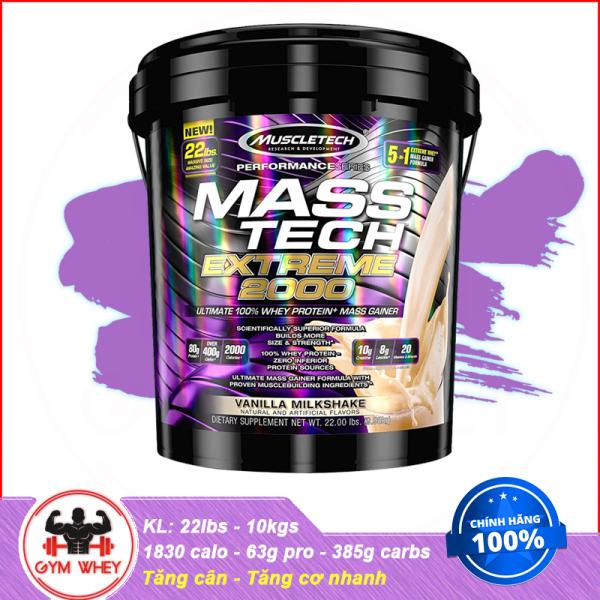 [HCM][Lấy mã giảm thêm 30%]Sữa Tăng Cân Tăng Cơ Nhanh MuscleTech Mass Tech Extreme 2000 22lbs (10kgs) Từ Mỹ cao cấp