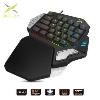 Delux T9X Đơn Tay Cơ Bàn phím Chơi Game hoàn toàn có thể lập trình USB có dây bàn phím có đèn nền RGB cho PUBG E- thể thao thumbnail
