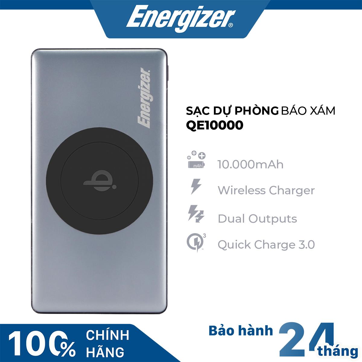 Pin sạc dự phòng Energizer 10,000mAh tích hợp sạc không dây 5W, màu xám - QE10000GY