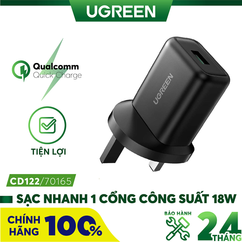 Sạc nhanh 1 cổng UGREEN CD122 70165 - Công suất tối đa 18W, Hỗ trợ QC3.0, FCP, AFC, BC 1.2, sạc nhanh cho điện thoại Samsung / Xiaomi / Huawei / Oppo / Vivo / Realme
