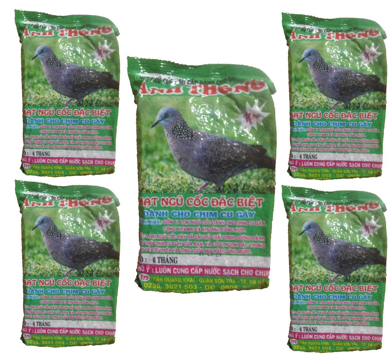 Combo 5 Gói Hạt Ngũ Cốc Chim Cu Gáy Anh Thông 300g - Thức Ăn Chim By Basi.