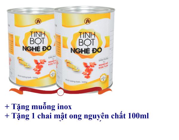 [1kg] Tinh bột nghệ Đỏ An Bình (2 lon) + Tặng kèm chai mật ong nguyên chất 100ml nhập khẩu