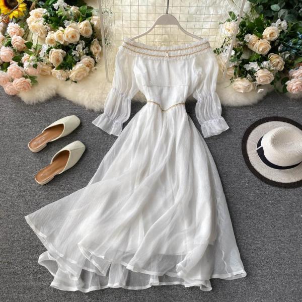 Váy Tiên Nữ Chic Gió Nhẹ Nhàng Đầm Nữ 2020 Mẫu Mới Trễ Vai Bó Eo Tôn Dáng Kiểu Pháp Qua Đầu Gối Váy Dài