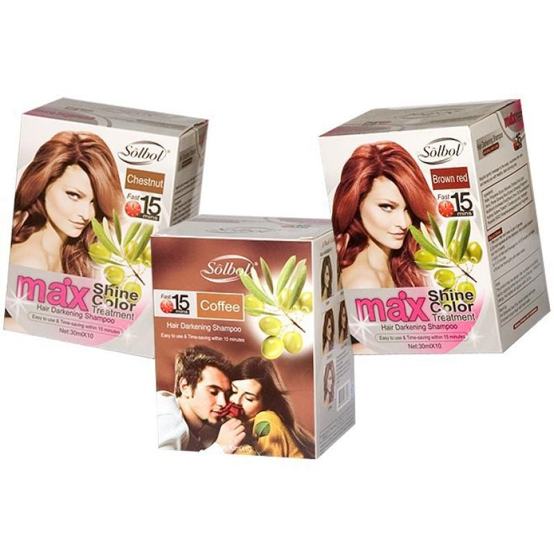Dầu gội thảo dược nhuộm tóc SOLSBOL max shine color ( HỘP 10 GÓI) giá rẻ