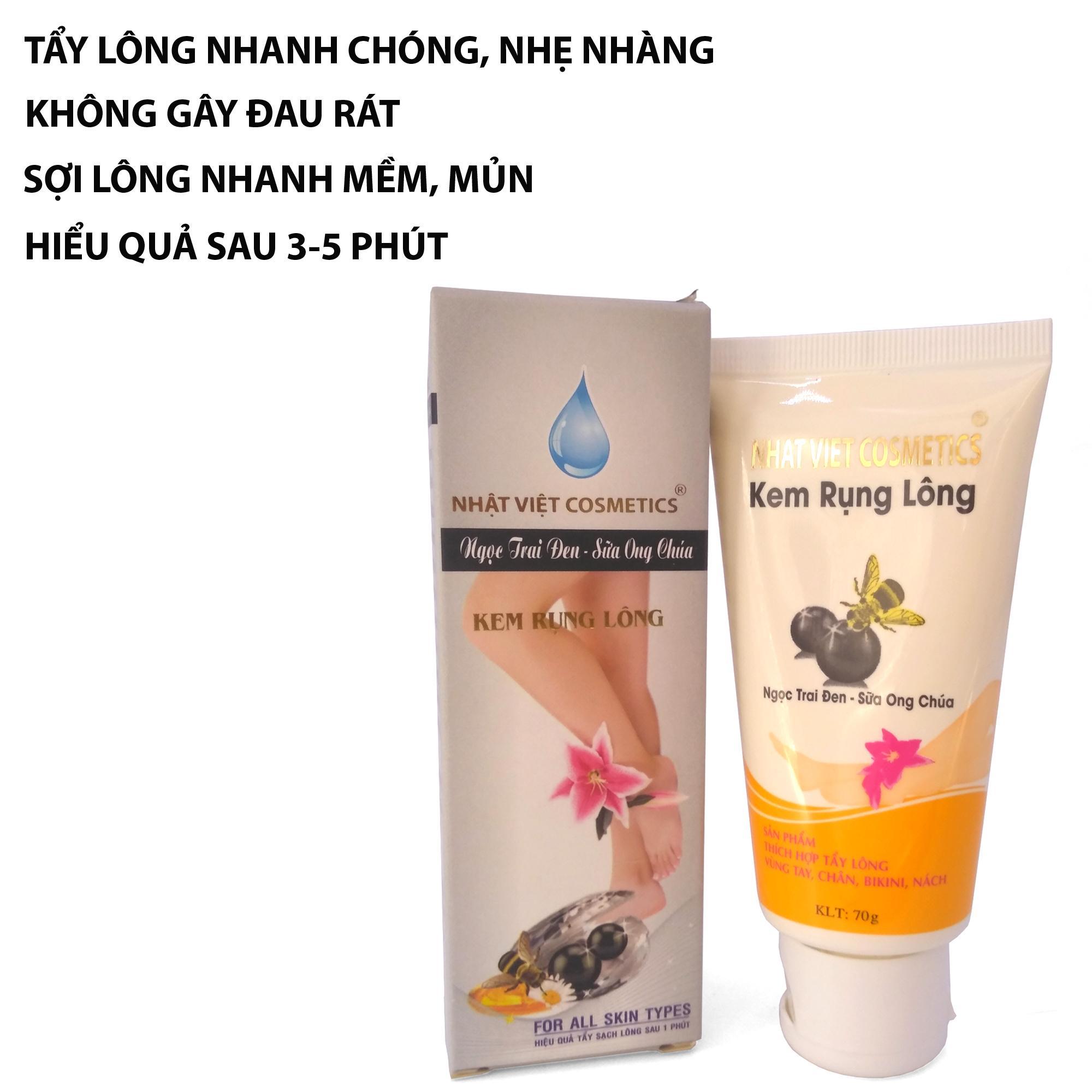 Kem rụng lông Ngọc trai đen - Sữa ong chúa Nhật Việt 70ml (Xám) nhập khẩu