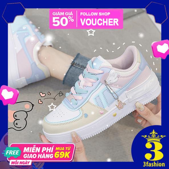 Giày Thể Thao Style Sneaker Nữ 3Fashion Tặng Kèm Bộ Icon Cute Đế Cao 4CM Da PU - MSP 3227 giá rẻ