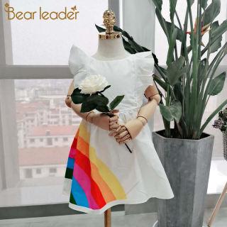 Quần Áo Đầm Bé Gái Mới Hình Gấu Leader Toddler Kids Cô Gái Công Chúa Quần Áo, Khối Màu Cầu Vồng Đầm Dự Tiệc Đầy Màu Sắc, Vestido