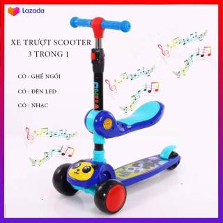 Xe Trượt Scooter, Xe tròi chân Scooter có nhạc, có đèn led 3 Trong 1, Cho Bé Từ 3 - 8 Tuổi Tải Trọng Lên Đến 100kg, Đồ Chơi hoạt động ngoài trời cho bé 1