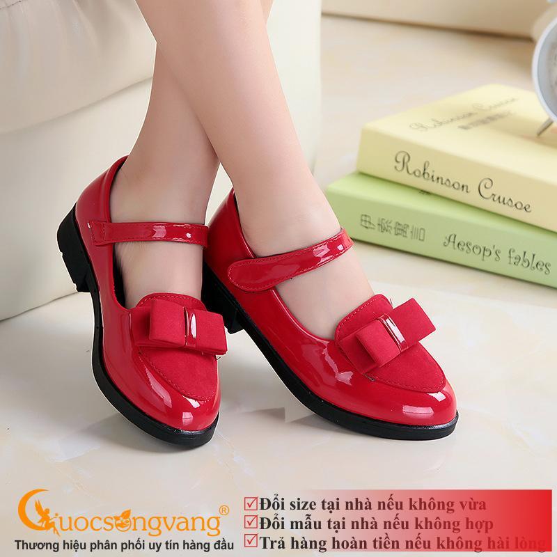 Giá bán Giày công chúa bé gái đính nơ đỏ giày bé gái đẹp kiểu GLG042 đỏ tươi