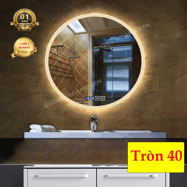 gương soi nhà tắm gương hoàng kim cảm ứng 3 chạm hoặc 3 mầu + phá sương cao cấp kích thước D40cm - guonghoangkim mirror HK0006