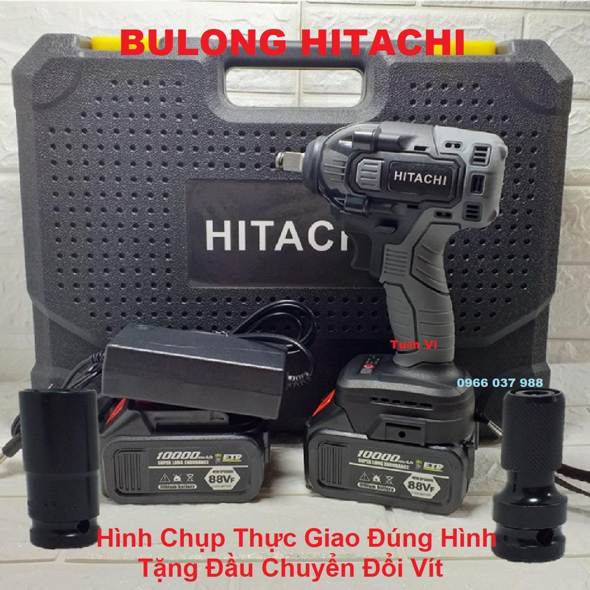 Máy Siết Bulong Hitachi Dùng Pin Không Chổi Than-Tặng Đầu Chyển Đổi Đầu Vít