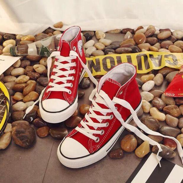 Giày cao cổ nữ thể thao Sneacker cao cổ vàng vải gắn hình ngôi sao Cons da Shyn Store giá rẻ