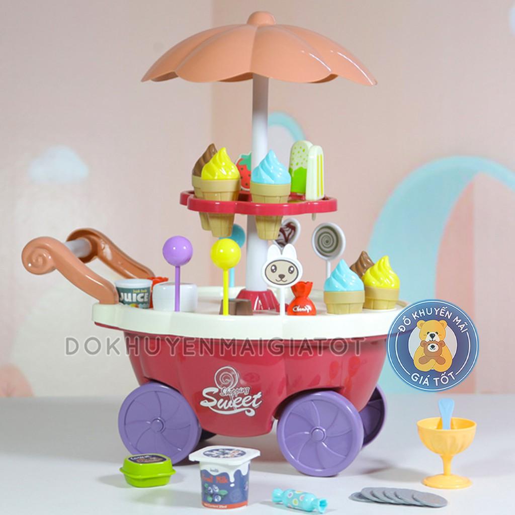 Đồ chơi nấu ăn cho bé gái mẫu xe bán kem màu vàng dùng pin có nhạc, đèn 30 chi tiết - đồ chơi đồ hàng nhà bếp, nấu ăn - Đồ khuyến mãi giá tốt