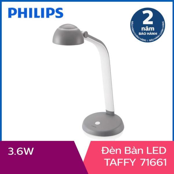 [Nhập ELMAY21 giảm 10% tối đa 200k đơn từ 99k]Đèn bàn Philips LED Taffy 3.6W (Xám đậm)