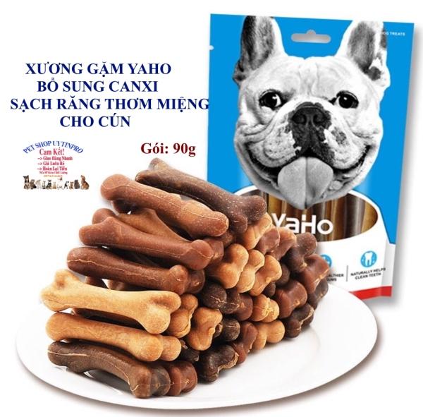 XƯƠNG GẶM CHO CHÓ THÚ CƯNG Yaho Dog Treats Hình cục xương Gói 90g Mix vị Bổ sung canxi Sạch răng Thơm miệng Bỏ mảng bám