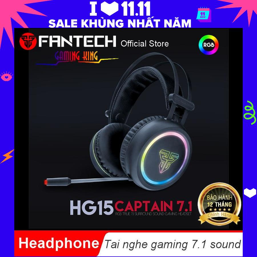 Tai Nghe Gaming Có Dây âm Thanh Vòm  7.1 Sound ( CAPTAIN 7.1 )  LED RGB Fantech HG15 - Hãng Phân Phối Chính Thức Giá Sốc Nên Mua