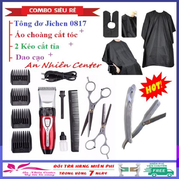 [Bảo hành 2 năm] Tông đơ cắt tóc, hớt tóc gia đình, trẻ em, không dây, chuyên nghiệp Jichen 0817 (Tăng đơ hớt tóc) + Tặng 2 kéo cắt tỉa tóc chuyên dụng, 01 áo choàng cắt tóc và 01 dao cạo