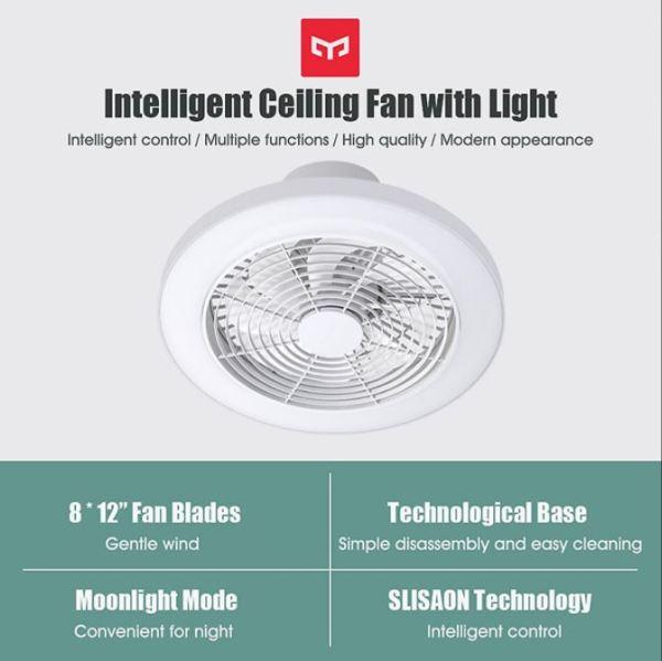 [HOT 2021] Quạt trần kiêm đèn led thông minh Xiaomi Yeelight YLFD001 - Phù hợp trần thấp, trần thạch cao - Công nghệ Nidec Inverter Nhật Bản