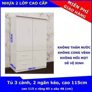 Tủ nhựa Trẻ Em Người Lớn, 3 cánh, 2 ngăn, cao 115 x rộng 84 x sâu 48 (cm), chất liệu nhựa Đài Loan 2 lớp - KHÔNG THẤM NƯỚC, KHÔNG CONG VÊNH, KHÔNG MỐI MỌT thumbnail