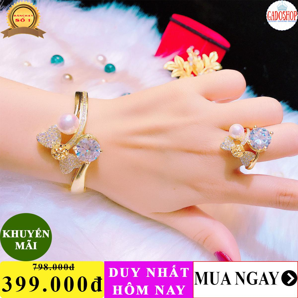 [SIÊU GIẢM GIÁ]Bộ trang sức mạ vàng 18k Trang sức Gadoshop VB220101920 - dùng đi tiệc cực kì sang chảnh