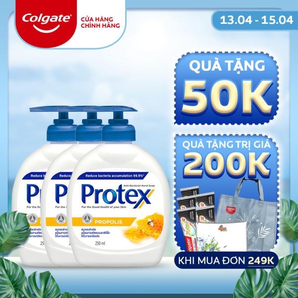 Combo 3 Nước rửa tay diệt khuẩn Protex Propolis keo ong 250ml/chai