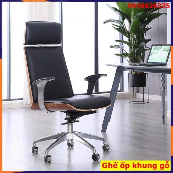 [Mẫu Mới+Có Sẵn] Ghế văn phòng, ghế da cao cấp có ốp lưng giả gỗ, chân xoay 360, có tay giá rẻ