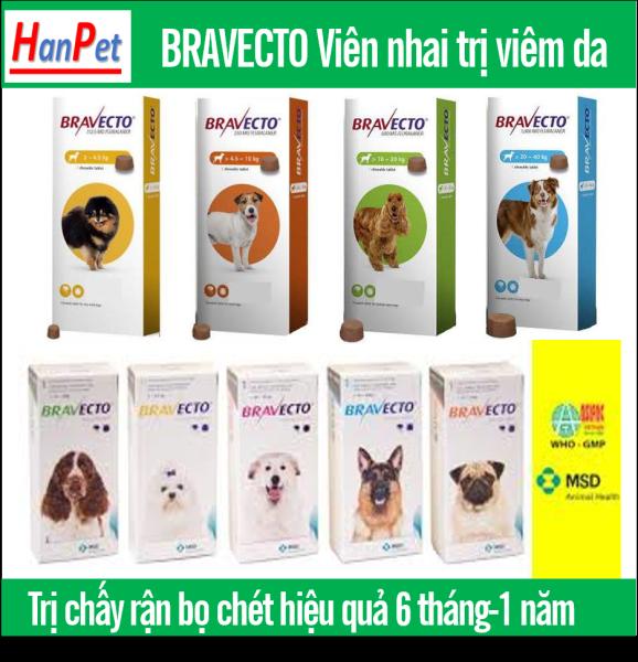 Hanpet-  Thuốc trị ve, bọ chét, viêm da, ghẻ máu demodex cho chó - Bravecto 10 - 20kg