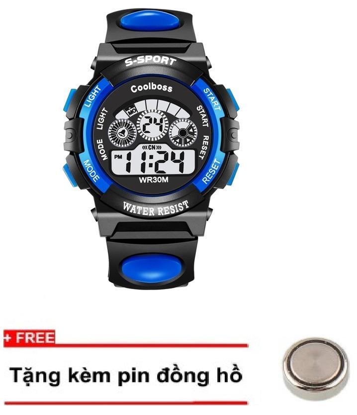 Nơi bán Đồng hồ trẻ em day cao su Coolboss 0118 Xanh + tặng 1 pin