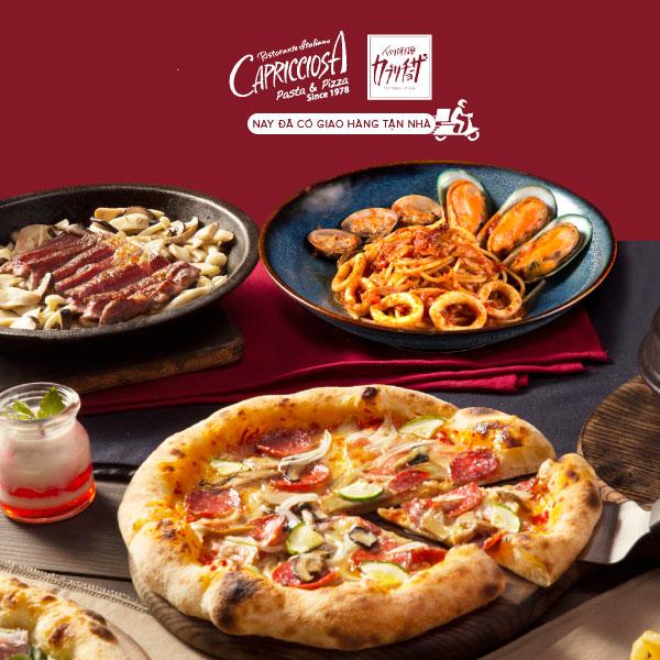 [Toàn Quốc] Capricciosa - Giao hàng tận nhà - Tặng tuỳ chọn 1 món mỳ Ý hoặc món pizza cho hoá đơn 500.000đ (chưa VAT)