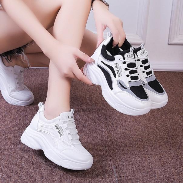 Giày thể thao nữ độn đế 2 màu full trắng và đen phản quang Andco Shyn Store giá rẻ