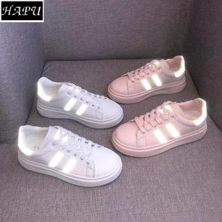 Giày sneaker nữ phản quang 2 sọc đẹp 2021 HAPU ( hồng ) thumbnail