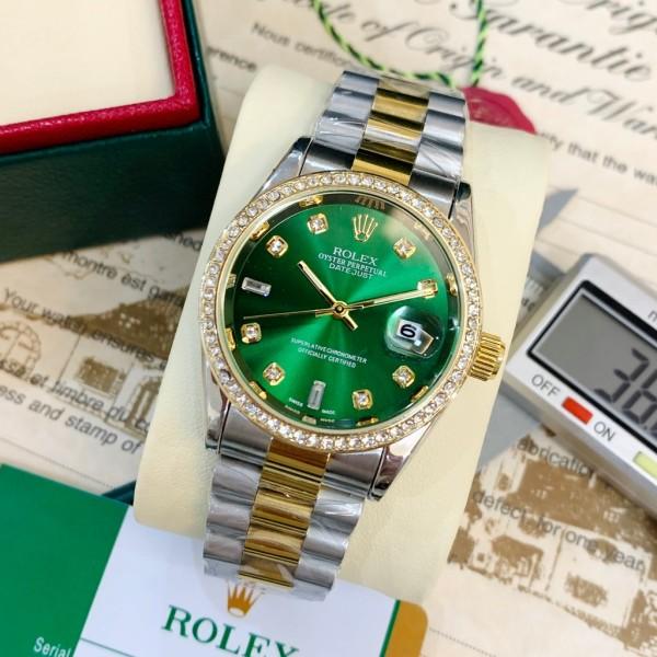 Nơi bán Đồng hồ nam Rolex đính viền đá dây kim loại đúc đặc cao cấp bảo hành 12 tháng, tặng vòng gỗ + hộp da cao cấp