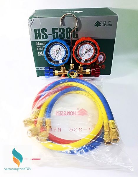 Bộ đồng hồ nạp Gas đôi + 03 dây gas HONGSEN HS-536C