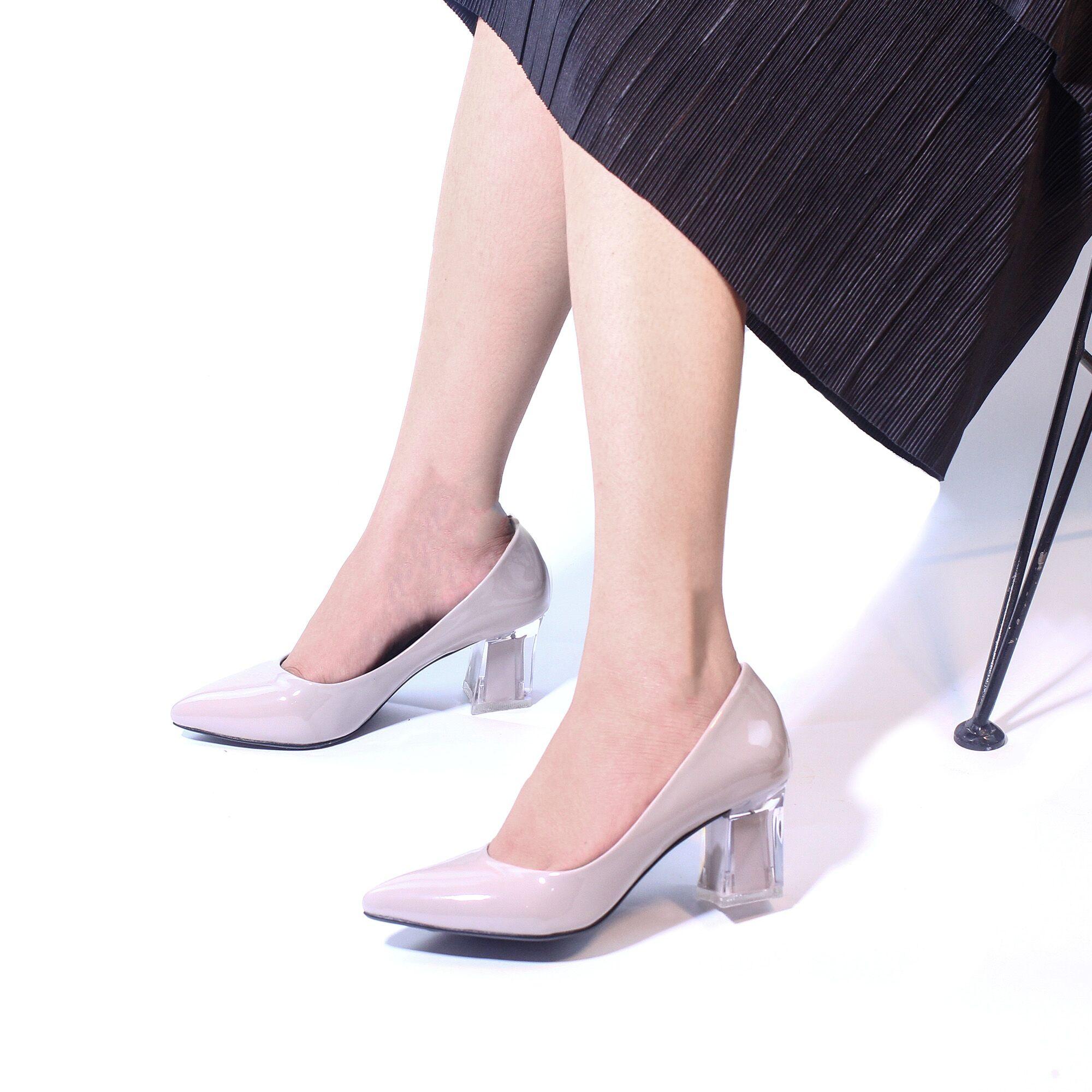 Giày Cao Gót 5cm Mũi Nhọn Gót Mica Pixie P006 Giá Rẻ Bất Ngờ