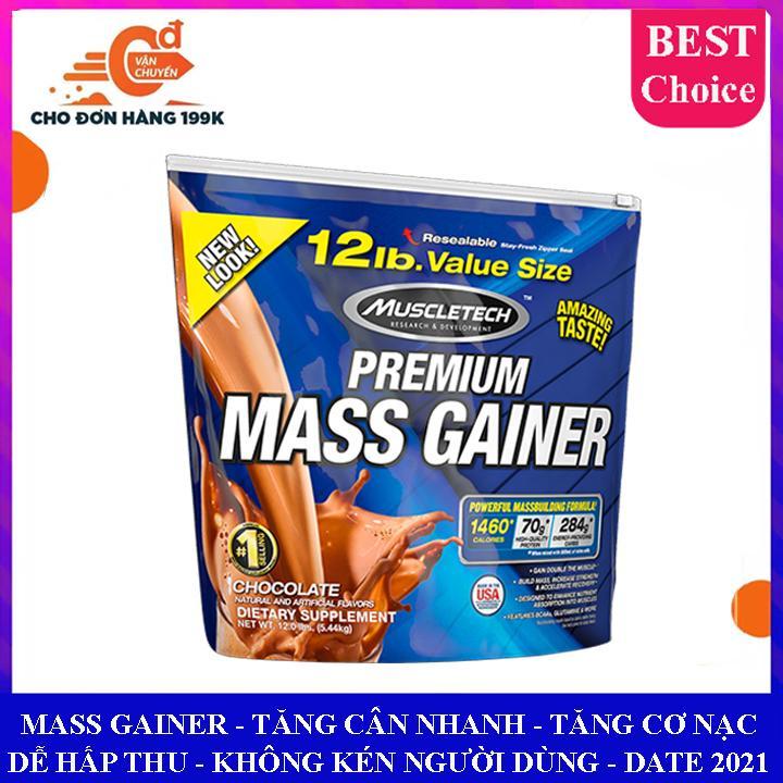 Sữa tăng cân tăng cơ Premium Mass Gainer của Muscle Tech bịch lớn 5.4 kg hỗ trợ tăng cân, tăng cơ nạc nhanh cho người tập gym và chơi thể thao, dễ hấp thu, không kén người dùng - thuc pham chuc nang chính hãng