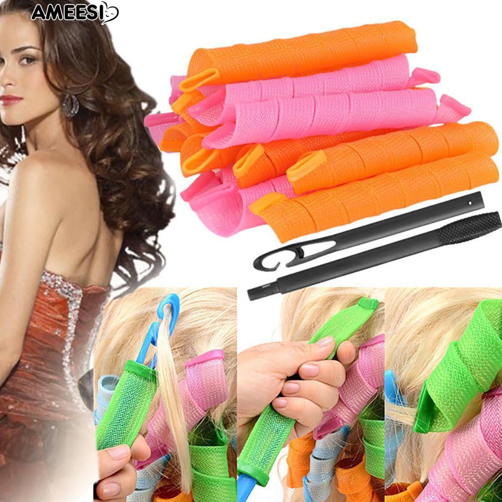 Siêu rẻ Bộ 18 lô uốn tóc không dùng nhiệt (màu ngẫu nhiên) nhập khẩu