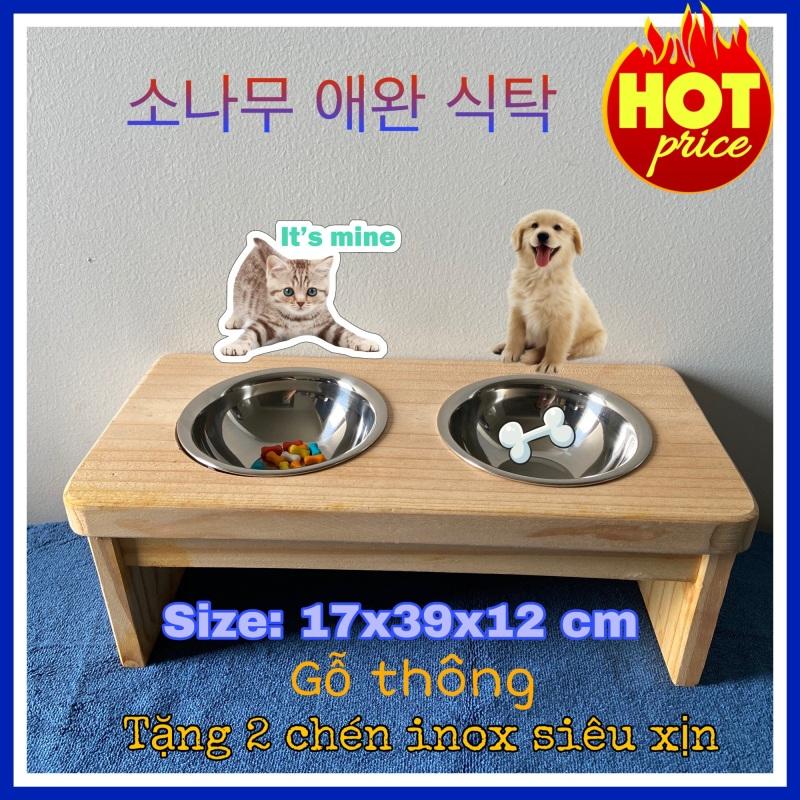 [XẢ KHO] [ FOR YOUR PET ] BÀN ĂN MINI CHO THÚ CƯNG BẰNG GỖ THÔNG 17x39x12cm Tặng 2 bát ăn inox