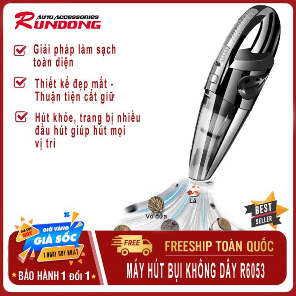 [ HÀNG CHÍNH HÃNG ] Máy hút bụi cầm tay xe hơi, ô tô cao cấp không dây đa năng ,Máy hút bụi kiêm bơm lốp Rundong R6053, máy hút bụi 4 trong 1 hút bụi, bơm hơi, đo áp suất và đèn led-RUNDONG ( BẢO HÀNH UY TÍN 12 THÁNG )