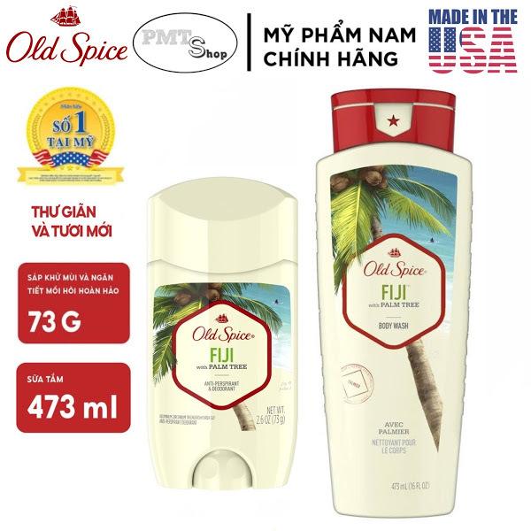 [USA] Combo Old Spice Fiji Gel sữa tắm 473ml + Lăn sáp khử mùi 73g (sáp trắng) - Mỹ