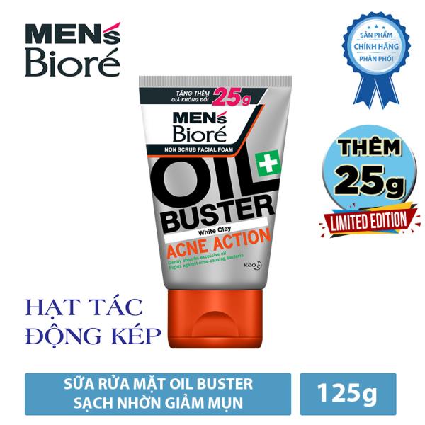 Sữa Rửa Mặt Men Biore Oil Buster Sạch Nhờn Giảm Mụn 125g