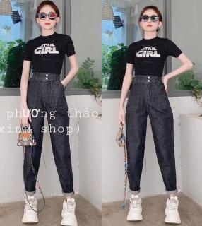 Quần baggy jean, quần bò chất vải cao cấp chất lượng thời trang trẻ trung lưng cao 1990STORE MS824 thumbnail