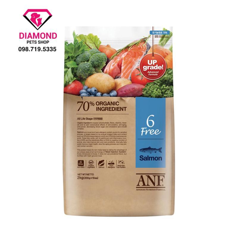 [2kg] Thức ăn hạt cho chó lớn hơn 6 tháng tuổi ANF 6 Free Organic vị Cá Hồi