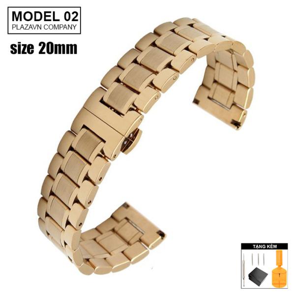 (size 20mm) Dây đồng hồ thép không gỉ inox model 02 kiểu khóa bấm chống han gỉ chống bay màu bán chạy