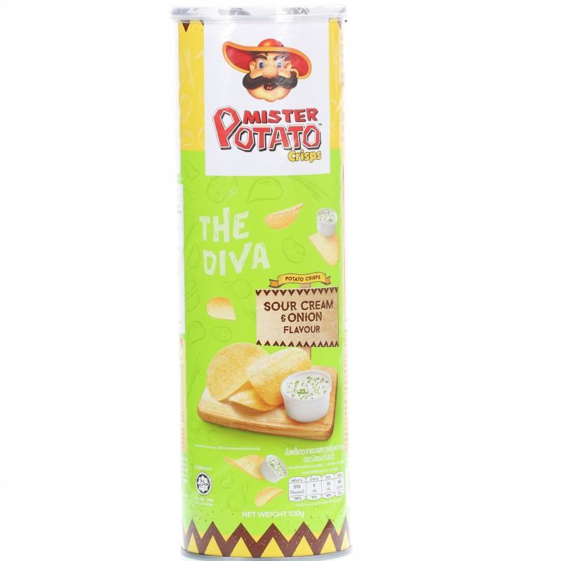Snack khoai tây chiên Mister Potato Chips vị Sour Cream & Onion hộp 100g