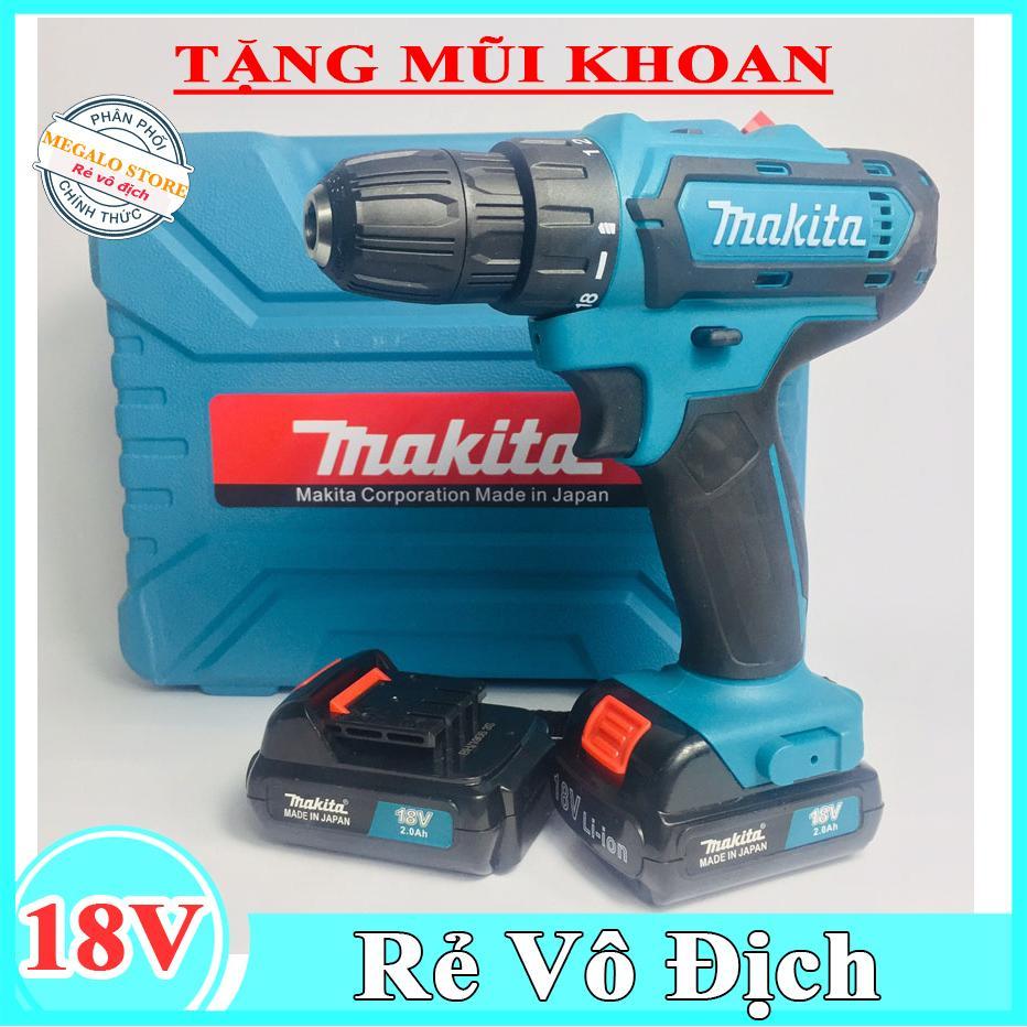 Máy khoan Makita 18V Tặng kèm mũi khoan, Khoan cầm tay bắt vít Megalo Tools