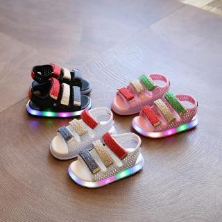 Giày sandal khóa dán năng động cho bé có đèn LED thumbnail