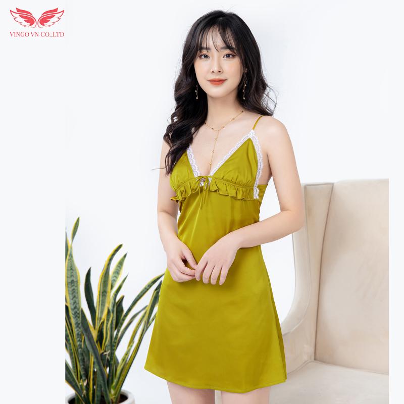 Nơi bán Váy ngủ nữ váy hai dây trơn chất liệu lụa Pháp cao cấp bèo ngực phối ren Vingo N264 VNGO