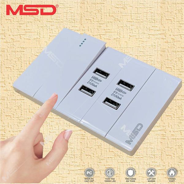 Ổ CẮM SẠC 4 USB và 1 CÔNG TẮC - MSD B12